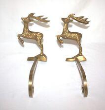 Vintage (2) Solid Brass Reindeer Stocking Holders Long Arm