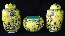 3PC Chinese Grisaille Decorated Yellow Ground Dayazhai Jars & Bowl w. Bird (Geo)