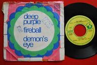 """DEEP PURPLE FIREBALL/DEMON'S EYE 1971 UNIQUE COVER RARE EXYUGO 7"""" PS"""