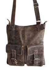BACCINI Men's Brown Real Leather Cross Body Messenger Bag. Size Medium.