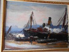 HILLAIRET Anatole-Eugène 1880-1928 France-Tableau-Huile-marine-Bateau-cadre-OIL