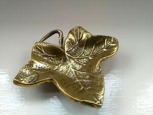 Vintage Solid Footed Brass Ivy Leaf Trinket/Pin Dish