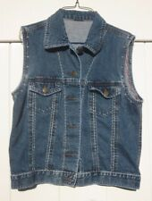 Vintage Jeans Vest, Red Beads, Hand Stitching Embroidered, Brass Buttons Sz 8-10