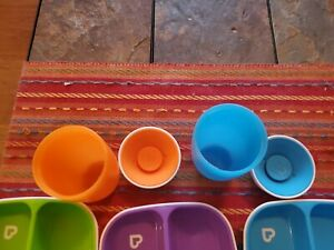 Munchkin platters and cups.   Toddler Divided Plates,Blue/Green, Purple. 5 Pcs.