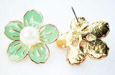 Large Green Enamel Effect & Faux Pearl Gold Tone Stud Earrings Post & Butterfly