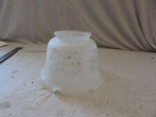 "VTG Glass Shade Victorian Ruffled Edge Pie Crust 4"" Fitter Frosted Floral"