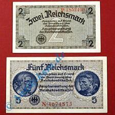 2 x ocupación alemanas, salida 2 y 5 Reichsmark apariencias administradas segunda guerra mundial