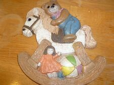 Vintage Home Interior Teddy Bear on Rocking Horse Wall Plaque