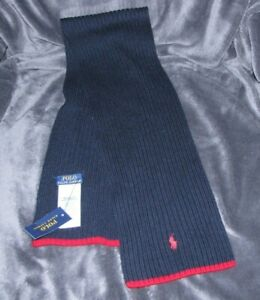 $50 RALPH LAUREN NAVY BLUE RED 100% WOOL KNITTED KNIT TODDLER KID SCARF NEW GIFT