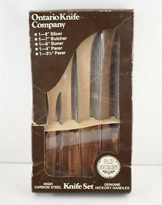 Ontario Knife Company Vintage Kitchen Knives Old Hickory Set of 5 -Made in USA