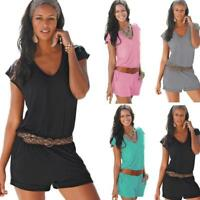 Women Summer Playsuit Bodycon Clubwear Party Jumpsuit Romper Casual Trousers L