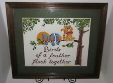 Birds of a Feather Flock Together Needlepoint Blue Birds Cat COMPLETED & FRAMED