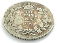 1928 Canada 10 Ten Cent Dime Circulated George V Canadian Coin L401
