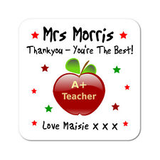 Personalised Teacher Thank You Thankyou Gift Drinks Coaster Present Gift
