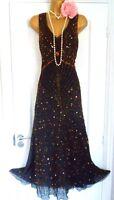 Berkertex 1920s Style Gatsby Flapper Charleston Beaded Sequin Dress Size 12