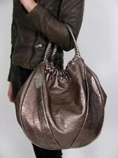 ELIE TAHARI EMMY PURSE METALLIC ROSE PEWTER LEATHER HOBO SLOUCH CARRY BAG TOTE