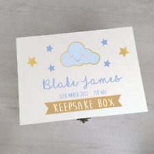 Boys Personalised Wooden Baby Keepsake Box - Printed Wood Box