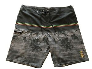 O'NEILL Hyperfreak BoardShorts Men's Size 38 Gray Black Hawaiian Stretchy 18 In