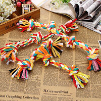 Tough Pet Chew Knot Toys Cotton Braided Bone Rope Colorful Puppy Dog 4 Sizes New