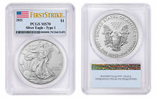 2021 $1 American Silver Eagle 1oz Dollar Type 1 PCGS MS70 First Strike