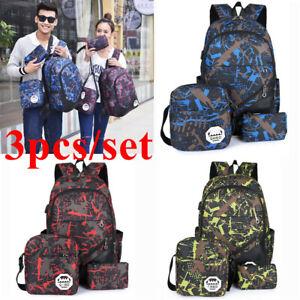 3Pcs/Set Large Camouflage Girls Boys Travel School Bag Backpack Rucksack Bag UK