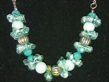 Erica Lyons Aqua Blue Beaded Necklace Silver Light Blue Chunky Statement El