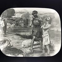Antique Magic Lantern Glass Slide Photo Baptism Of Jesus
