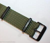 Nato Armband original KHS Ersatzbänder grün Nylon PVD black robust KHS.EBNO.20