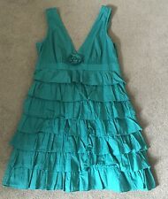 Warehouse Rara Dress Green UK 12 Very Good Condition