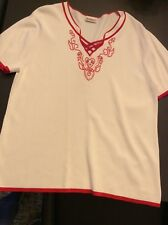 Roman white short sleeve knit style top with red detail size L