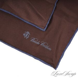 NWT Brooks Brothers Raisin Brown Blue Piped Solid Hand Rolled Silk Pocket Square