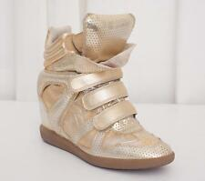 ISABEL MARANT Womens Gold Leather Hidden Wedge Sneakers Trainers Shoes 10-40