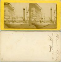 Stéréo, Paris, colonne Vendôme vintage albumen stereo card, Tirage albuminé