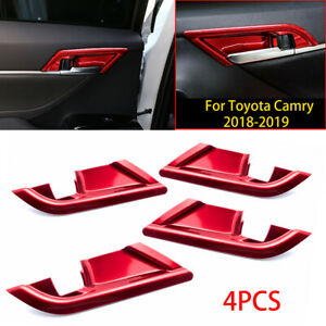 4pcs Red ABS Interior Door Handle Bowl Cover Trims for Toyota Camry 8th 2018-21