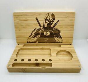 deadpool heart laser engraved Bamboo high quality rolling tray pop gift