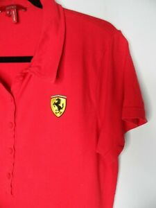 """Scuderia Ferrari Polo Shirt Tee Top Red Size XL Pit to Pit 20"""""""