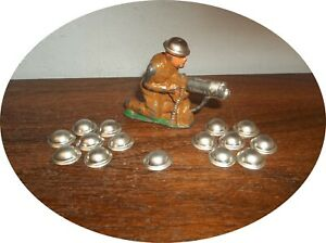 GROUP 15 SOLDIER HELMETS / ALSO CAN BE USED AS HUBCAPS~TOY CARS BANDAI ~BARCLAY