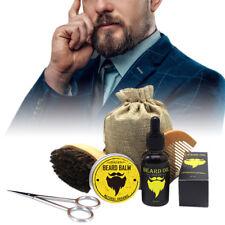 5pcs Beard Oil Cream Comb Brush Scissors Beard Care Kit Mustache Grooming Set
