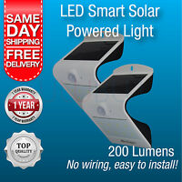 2 x Solar Powered Outdoor Light LED Waterproof Motion Sensor Entrance Wall Light
