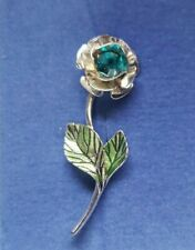"2004 Avon Rose Pin - December Birthstone Faux Blue Topaz - 1.75"" - NIB"