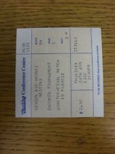 28/01/1982 Snooker Ticket: Benson and Hedges Masters [At Wembley] Quarter Final