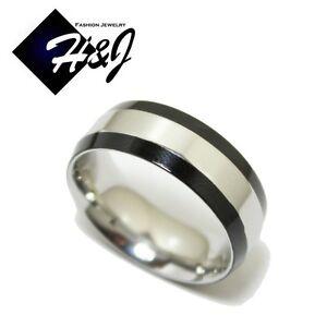 Men's Women's Stainless Steel 8mm Black Silver 2-Tone Wedding Band Ring