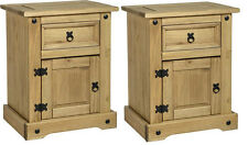 CORONA Solid Mexican Pine 1 Drawer 1 Door Bedside Chest Bedroom Furniture P