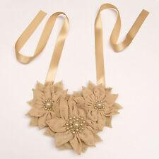 Collier / ceinture (2 en 1) mariage cérémonie FLEURS BEIGE perles satin tissu