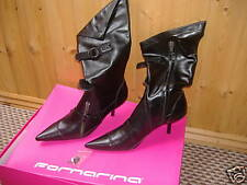 Fornarina BLACK stiletto boots shoes NEW GOTH 37 4 - 5