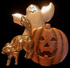 Silver & 24 Karat Gold Plate Halloween Pin Jack-o-Lantern Ghost Cat Copper