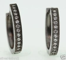 Genuine Black Silver Huggie Earring With White CZ Pave Style Setting