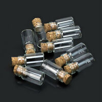 SMALL CORK STOPPER GLASS BOTTLES CLEAR EMPTY JARS VIALS PENDANTS CUBOID