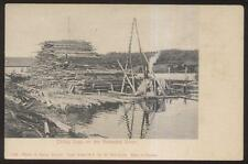 Postcard KENNEBEC RIVER Maine/ME  Lumber Factory Piling Logs view 1906?