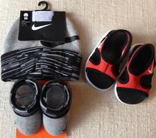 Nike Lil Sunray 9 Infant Red/Black Sandals size 2C & Booties Beanie